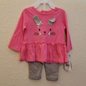 Wee play bunny pink top/ gray bottoms